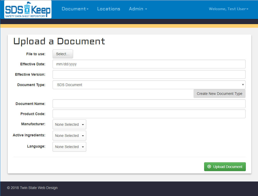 SDS Keep - Upload a document